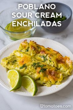 Poblano Sour Cream Enchiladas