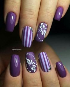 Nail Designs on Purple Nail Polish - Nails - # # # Purple Nail Designs # Nail Polish… - Nail Ideas - NailiDeasTrends - Nageldesign - Purple Manicure, Purple Nail Art, Purple Nail Designs, Manicure E Pedicure, Gel Nail Designs, Nails Design, Purple Gold, Manicure Ideas, Purple Glitter
