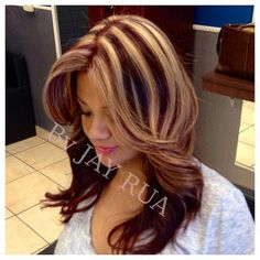 This is a no---- see how the blond and the dark are equal thickness ---- I want my blond to dominate Burgundy Blonde Hair, Burgendy Hair, Brown Hair With Blonde Highlights, Hair Color Highlights, Chunky Highlights, Caramel Highlights, Burgundy Highlights, Hair Color And Cut, Cool Hair Color