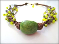 Small Green Tagua Nut, Candy Jade, Round Tagua Beads, Dark Brown Linen Cord , Necklace