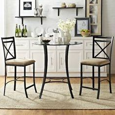 Dorel Living Valerie 3 piece Counter Height Glass and Metal Dining Set, Black / Beige Cheap Dining Room Sets, Small Dining Sets, Kitchen Dining Sets, Counter Height Dining Sets, Dining Room Bar, Kitchen Chairs, Dining Table, Dining Rooms, Kitchen Ideas