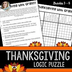 About this resource : This logic puzzle will keep your students thinking as they try to figure out who enjoys which Thanksgiving foods!For more logic puzzles like this, check out my Logic Puzzle Bundle!Available in the following bundle(s) : Thanksgiving, Fall and Halloween Middle School Math ActivitiesTerms of Use Lindsay Perro.