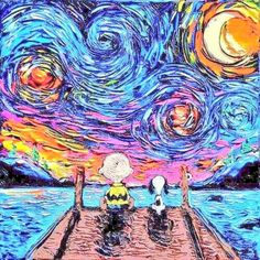 Aja Kusick paints pop culture Starry Night scenes in her 'Van Gogh Never' series. Each cartoon Van Gogh painting puts an artistic spin on pop culture. Snoopy Love, Charlie Brown Et Snoopy, Snoopy And Woodstock, Arte Pop, Cultura Pop, Pintura Online, Pop Art, Peanuts Cartoon, Peanuts Gang