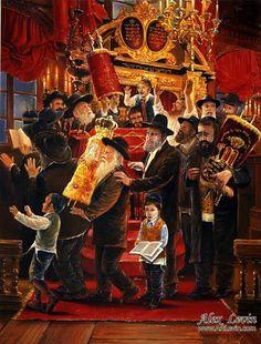SIMCHAT TORAH, painting by Alex Levin