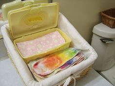 Family Cloth - some wet and some dry.  Made to fit in a wipes container.