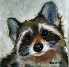 "KYLE BUCKLAND JENN COUNTS FARM ART CUTE RACCOON ANIMAL OIL PAINTING A DAY Impressionism Melanie Raccoon FINE ART WALL ART DAILY PAINTWORKS COLLECTIBLE CUTE ANIMALS HOME OFFICE CABIN DECOR ""Melanie"" Oil on canvas 6""x6"" ♥•♥•♥"
