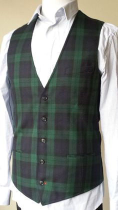 Men Vest by 1901 size S wool blend plaid pattern green color NWT