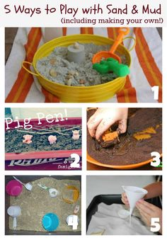 Reading Confetti: Kid's Co-op: 5 Ways to Play with Sand and Mud.  #fun #crafts #kids #baby #babysdream