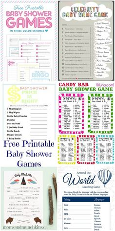 Free Printable Baby Shower Games #BabyShower http://www.momsandmunchkins.ca/2014/01/25/free-printable-baby-shower-games/