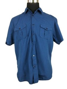 DRILL CLOTHING COMPANY Casual Shirt Short Sleeve Button Front Blue Stripe Mens L #DrillClothingCompany #ButtonFront