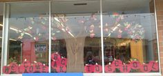 Back to school or fall window display idea.