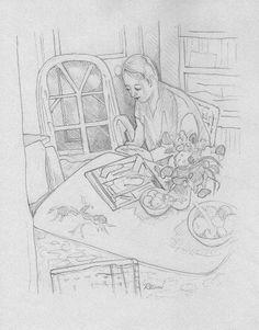 Pencil rendering by Melanie Renn of 'Woman in a Room' by Pierre Bonnard,.