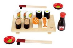 Fisher Price Not Good Enough: Haute Cuisine Toy Kitchens Are Trending – Holzspielzeug – Holzarbeiten. Kids Wooden Play Kitchen, Play Kitchen Food, Wooden Play Food, Play Food Set, Wooden Toys, Sushi Set, Sushi For Kids, Play Kitchen Accessories, Hape Toys