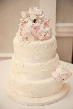 White Flower Pink Floral Cake Classic Chic Simple Elegant Champagne Wedding Kent http://kerryannduffy.com/