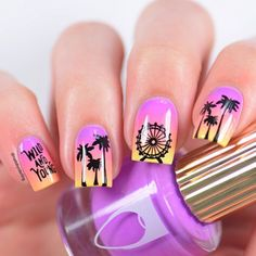 LA / Coachella inspired nails 🎡🌴 Tutorial will all details will be up later 💘 nagel lakken Summer Acrylic Nails, Best Acrylic Nails, Summer Nails, Spring Nails, Trendy Nails, Cute Nails, My Nails, Pineapple Nails, Palm Tree Nails
