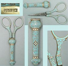 Rare Norwegian Enameled Sterling Silver Scissors *David Andersen