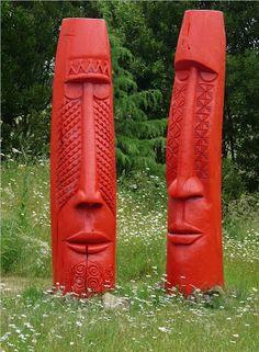 Tuitagaloa & Rongo by Fatu Feu'u Tiki Art, Tiki Tiki, Tiki Hawaii, Easter Island, Stone Carving, Land Art, Sculptures, Retro, Printmaking
