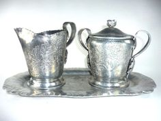 Vintage Hammered Aluminum Cream and Sugar Set with by ChromaticWit, $19.99