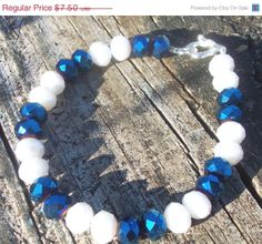 ON SALE Sapphire and white bracelet rondelle by AliciasFindings, $6.00