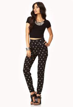 Arrow Print High-Waisted Trousers  
