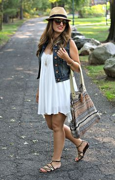 Boho Look, Summer Outfit, Fedora, Denim Vest, Woven Tote, gladiator sandals
