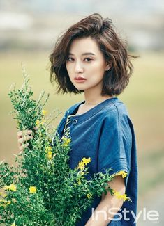 New hair cuts styles korean ideas Shot Hair Styles, Curly Hair Styles, Short Wavy Hair, Wavy Lob, Trendy Haircuts, Wavy Haircuts, Bob Hairstyles, Asian Hairstyles, Hairstyles Pictures