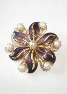 SOLD Vintage Costume Purple Enamel & Faux Pearl Flower  $12.00 by feathersoup