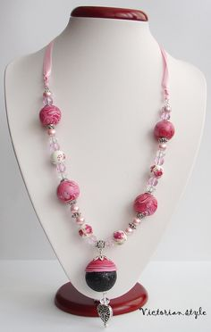 glass, pearls, ceramic and polymer clay beads necklace