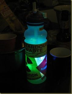 "How to make a glowing ""toxic ooze"" cocktail for your next Halloween party!  Also makes a great accessory for a ""mad scientist"" costume!"