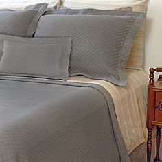 @Overstock - This Diamante coverlet showcases a majestic cotton ensemble in a repeating diamond pattern for soothing comfort. This coverlet has an elegant quapunto finished hem. http://www.overstock.com/Bedding-Bath/Diamante-King-size-Grey-Matelasse-Coverlet/6165604/product.html?CID=214117 $104.99