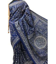 Blue Kantha Stitch Pure Bangalore Silk Saree