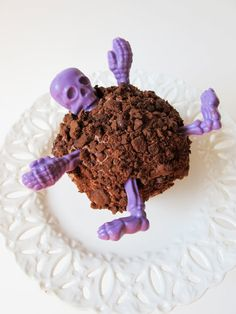 5 Chocolate Skeleton Pieces Violet Bones by TheFrostedPetticoat, $11.50