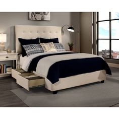 Republic Design House Manhattan King-size Ivory Tufted Platform Bed and Flat Bench Set - Free Shipping Today - Overstock.com - 20473659 - Mobile