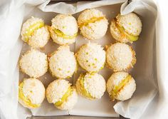 Coconut Macaroon Sandwiches with Lime Curd by Gourmet. Retrofit the macaroon as a bite-size sandwich filled with a pucker-worthy tart lime curd, and you've caught a new trend headed straight for the stars.