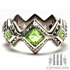 Renaissance Wedding Ring Moss Green Peridot Stones Gothic Sterling Silver Band With Studs from Etsy