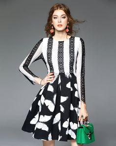 #AdoreWe VIPme A-Line Dresses - D.Fanni Contrast Lace Paneled Long Sleeve Printed A Line Mini Dress - AdoreWe.com