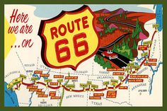 Route 66 Map 1930s Postcard. Quilt Block printed on cotton. Ready to sew. Single 4x6 block $4.95. Set of 4 blocks with free Wall Hanging Pattern $17.95.