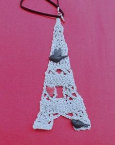 Eiffel Tower Crochet  and Clay Necklace by GrannysInspirations, $15.00