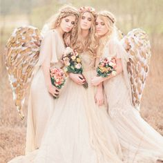 Whimsical angel inspired wedding from Three Nails Photography. Just love these beautiful bridesmaid angels!