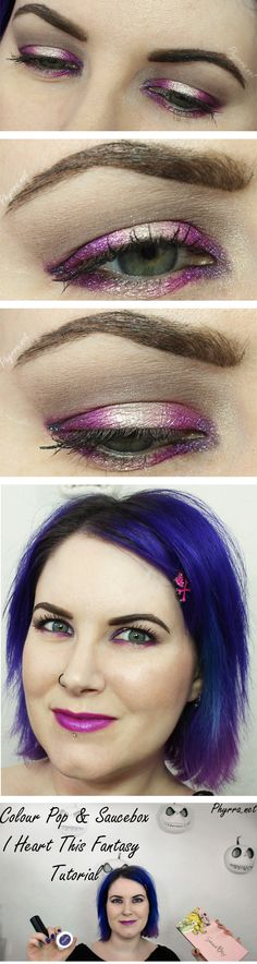 Colour Pop I Heart This Fantasy Tutorial, featuring Colour Pop and Saucebox Cosmetics. What a gorgeous purple halo look! #crueltyfree #purple #tutorial
