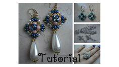 DIY - TUTORIAL Orecchini Marilyn Seed Bead Jewelry, Seed Bead Earrings, Blue Earrings, Beaded Jewelry, Earring Tutorial, Bracelet Tutorial, Diy Jewelry Instructions, Twin Beads, Beaded Earrings Patterns