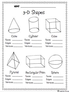 3 d shapes facts worksheet 3d Shapes Worksheets, Shapes Worksheet Kindergarten, Geometry Worksheets, Kindergarten Math, Teaching Math, Grade 2 Math Worksheets, Teaching Time, Teaching Spanish, Preschool