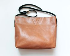 EVA Leather Tote in Camel. Camel and Black by GiftShopBrooklyn, $154.00