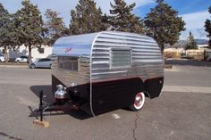 1957 Corvette Travel Trailer-this is the make and model of my Miss Ethel. But I have no intention of restoring her to look like a diner. Retro Trailers, Vintage Travel Trailers, Camper Trailers, Classic Trailers, Tiny Trailers, Vintage Rv, Vintage Caravans, Vintage Campers, Small Camping Trailer