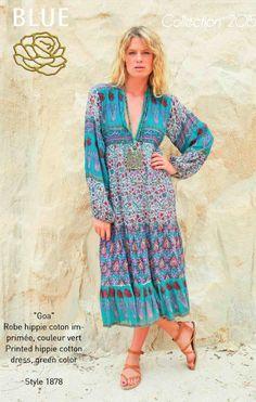 GOA printed hippie cotton dress Blue Hippy Summer 2015 Collection #boho #gypset #hippy #blue #southoffrance #handprinting #bohemian #vintage #bohochic #bohostyle #boholiving #bohemianstyle #gypsy #hippie #travel #beach #french #france #wanderlust