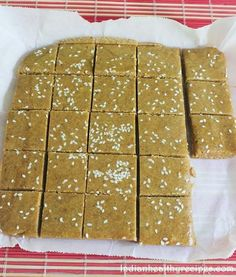 Almond burfi recipe with jaggery Indian Dessert Recipes, Indian Sweets, Indian Recipes, Indian Foods, Indian Dishes, Amish Recipes, Sweet Recipes, Snack Recipes, Cooking Recipes