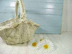 Vintage Hand Woven OffWhite Wicker & Lace Flower by DivineOrders, $28.00