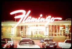 Flamingo, Las Vegas, April 1967 The designer of the Flamingo's script logo – created in 1946, and still in use today – is unknown to us. The neon sign shown here was created by YESCO's Hermon Boernge for the resort's extensive renovation in '53, and...