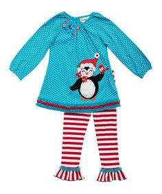 Another great find on #zulily! Turquoise & Red Penguin Tunic & Leggings - Toddler & Girls #zulilyfinds