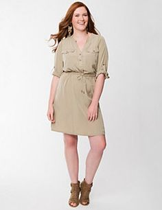The classic shirt dress is a must for every woman's wardrobe for its flattering structure and versatile style. We've given ours a curve-loving silhouette with a drawstring waist to tie it all together. Detailed with a partial, snap-closure placket, chest pockets and rolled 3/4 sleeves with tab-and-snap closures. Smooth, sleek fabric gives it a lightweight feel for comfort in any season.